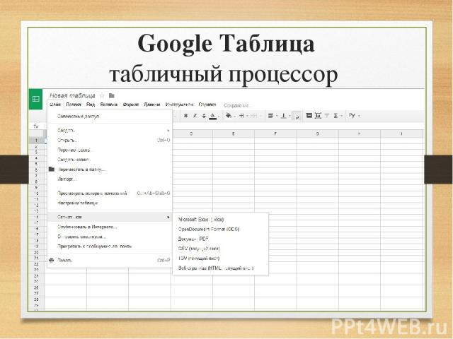 Google Таблица табличный процессор
