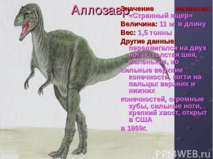 Аллозавр Значение названия: «Странный ящер» Величина: 11 м в длину Вес: 1,5 тонн