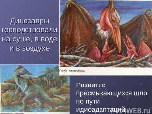 Динозавры господствовали на суше, в воде и в воздухе Развитие пресмыкающихся шло