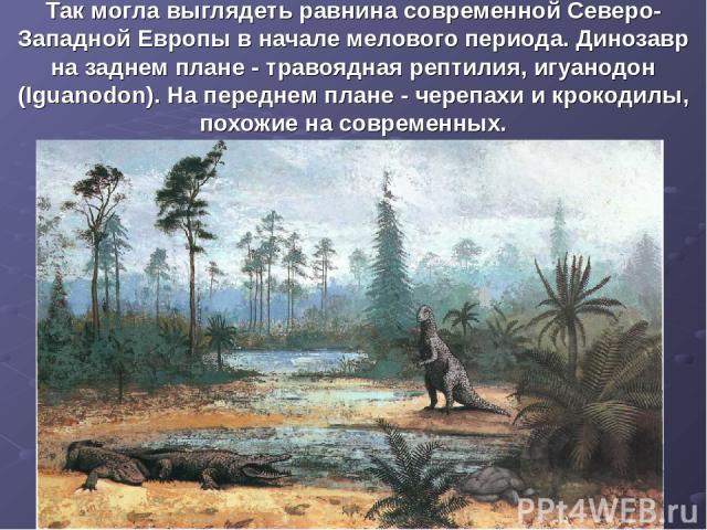 Так могла выглядеть равнина современной Северо-Западной Европы в начале мелового периода. Динозавр на заднем плане - травоядная рептилия, игуанодон (Iguanodon). На переднем плане - черепахи и крокодилы, похожие на современных.
