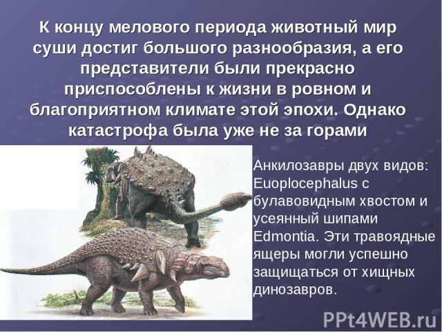К концу мелового периода животный мир суши достиг большого разнообразия, а его представители были прекрасно приспособлены к жизни в ровном и благоприятном климате этой эпохи. Однако катастрофа была уже не за горами Анкилозавры двух видов: Euoploceph…