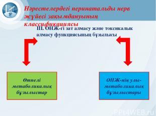 ОНЖ-нің улы-метаболикалық бұзылыстары Өтпелі метаболикалық бұзылыстар III. ОНЖ-г