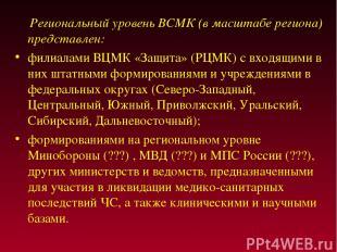 Региональный уровень ВСМК (в масштабе региона) представлен: филиалами ВЦМК «Защи