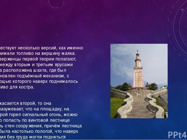 Существует несколько версий, как именно поднимали топливо на вершину маяка. Приверженцы первой теории полагают, что между вторым и третьим ярусами была расположена шахта, где был установлен подъёмный механизм, с помощью которого наверх поднималось т…