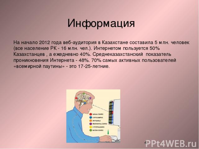 На начало 2012 года веб-аудитория в Казахстане составила 5 млн. человек (все население РК - 16 млн. чел.). Интернетом пользуется 50% Казахстанцев , а ежедневно 40%. Среднеказахстанский показатель проникновения Интернета - 48%. 70% самых активных пол…
