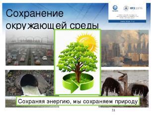 Сохранение окружающей среды Сохраняя энергию, мы сохраняем природу Вопрос к клас