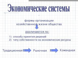 - формы организации хозяйственной жизни общества cпособу принятия решений типу с