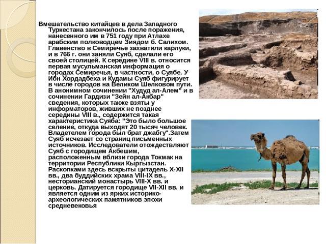 Вмешательство китайцев в дела Западного Туркестана закончилось после поражения, нанесенного им в 751 году при Атлахе арабским полководцем Зиядом б. Салихом. Главенство в Семиречье захватили карлуки, и в 766 г. они заняли Суяб, сделали его своей стол…