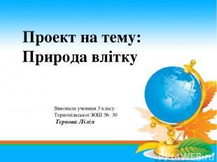 Проект на тему: Природа влітку Виконала учениця 3 класу Тернопільської ЗОШ № 30