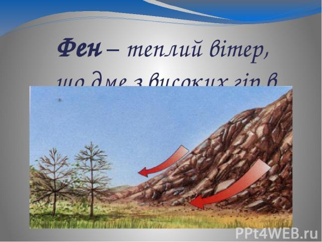 Фен – теплий вітер, що дме з високих гір в долини