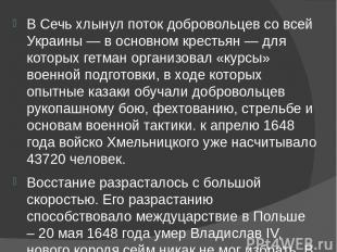 В Сечь хлынул поток добровольцев со всей Украины — в основном крестьян — для кот