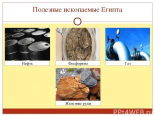 Полезные ископаемые Египта Нефть Газ Фосфориты Железные руды