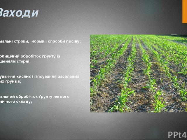 Заходи оптимальні строки, норми і способи посіву; безполицевий обробіток ґрунту із залишенням стерні; вапнуван ня кислих і гіпсування засолених змитих ґрунтів; мінімальний обробі ток ґрунту легкого механічного складу;