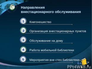 Направления внестационарного обслуживания Книгоношество Организация внестационар