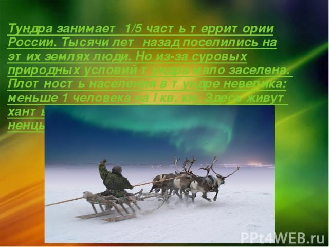 Тундра занимает 1/5 часть территории России. Тысячи лет назад поселились на этих землях люди. Но из-за суровых природных условий тундра мало заселена. Плотность населения в тундре невелика: меньше 1 человека на I кв. км. Здесь живут ханты, манси, эс…