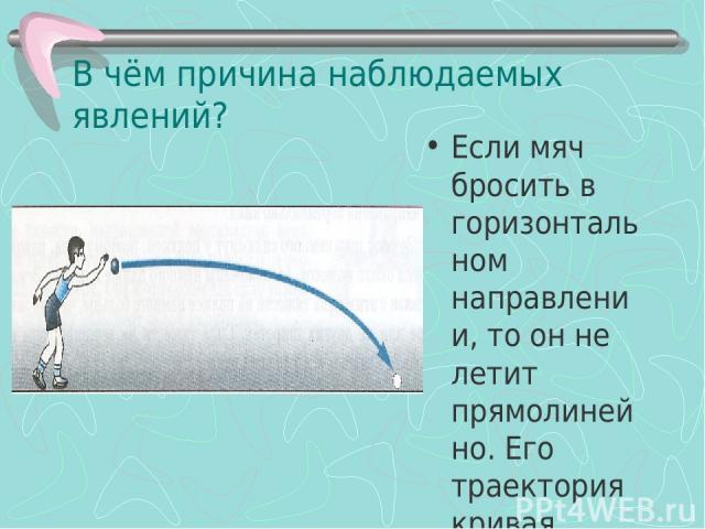 В чём причина наблюдаемых явлений? Если мяч бросить в горизонтальном направлении, то он не летит прямолинейно. Его траектория кривая линия. ПОЧЕМУ?