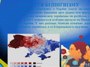 ПОНЯТТЯ БІЛІНГВІЗМУ Двомовні громадяни становлять в Україні доволі численну груп