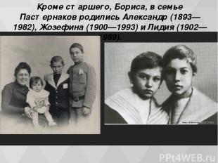 Кроме старшего, Бориса, в семье Пастернаков родились Александр (1893—1982), Жозе