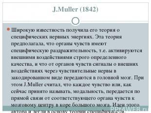 J.Мuller (1842) Широкую известность получила его теория о специфических нервных