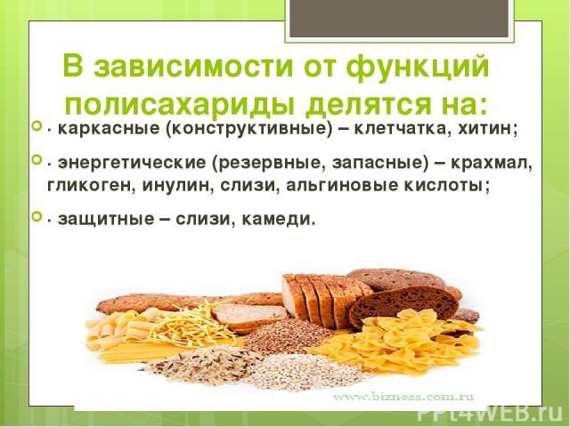 В зависимости от функций полисахариды делятся на: · каркасные (конструктивные) – клетчатка, хитин; · энергетические (резервные, запасные) – крахмал, гликоген, инулин, слизи, альгиновые кислоты; · защитные – слизи, камеди.