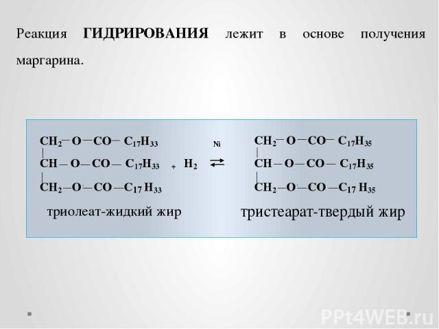 Реакция ГИДРИРОВАНИЯ лежит в основе получения маргарина.