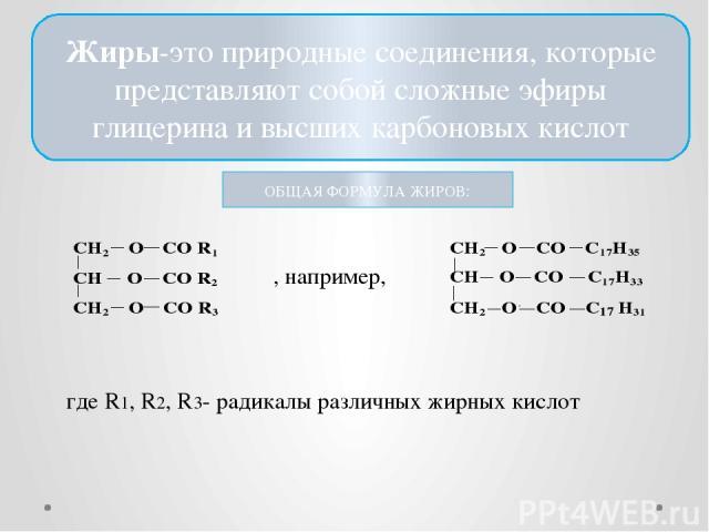 Жиры-это природные соединения, которые представляют собой сложные эфиры глицерина и высших карбоновых кислот ОБЩАЯ ФОРМУЛА ЖИРОВ: где R1, R2, R3- радикалы различных жирных кислот , например,