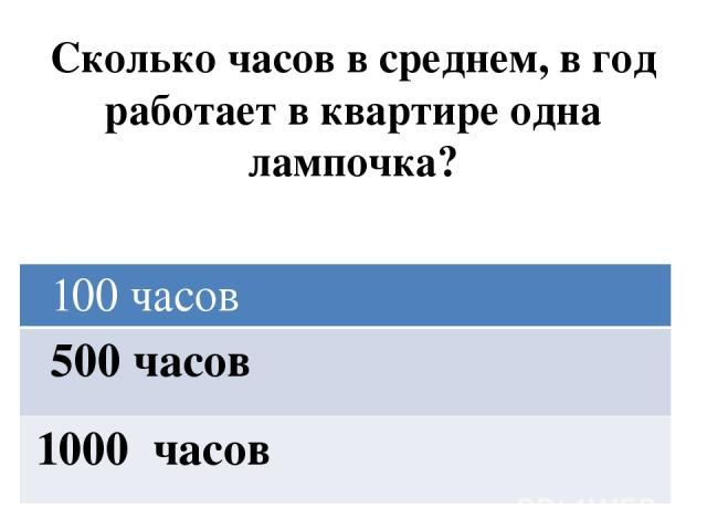 Сколько часов в среднем, в год работает в квартире одна лампочка? 100 часов 500 часов 1000 часов