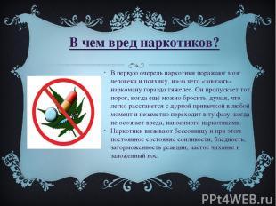 В чем вред наркотиков? В первую очередь наркотики поражают мозг человека и психи