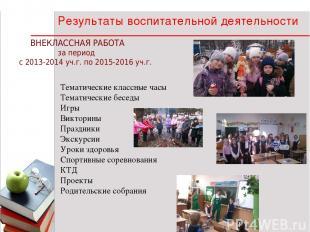 * * 1 Результаты воспитательной деятельности ВНЕКЛАССНАЯ РАБОТА за период с 2013