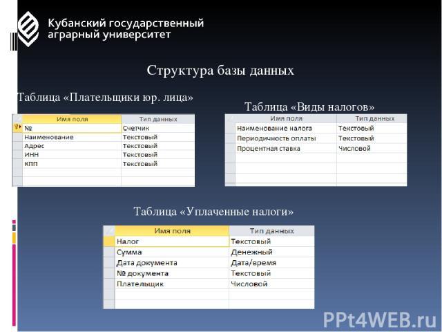 Структура базы данных Таблица «Плательщики юр. лица» Таблица «Виды налогов» Таблица «Уплаченные налоги»