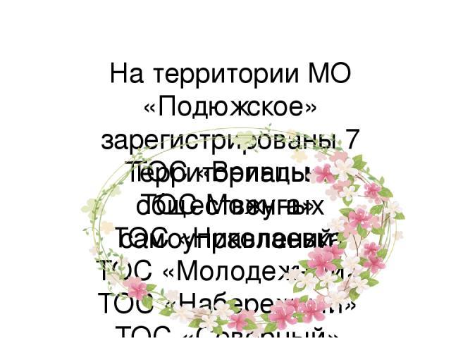 На территории МО «Подюжское» зарегистрированы 7 Территориально общественных самоуправлений: ТОС «Вельцы» ТОС Можуга» ТОС «Николаевка ТОС «Молодежный» ТОС «Набережный» ТОС «Северный» ТОС «Заречный»