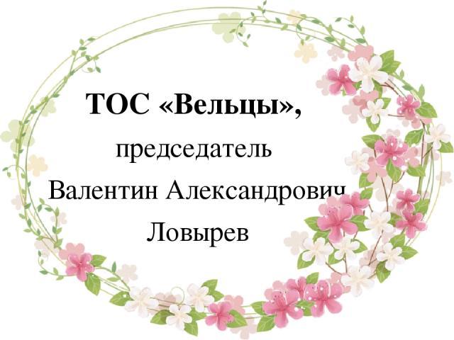ТОС «Вельцы», председатель Валентин Александрович Ловырев