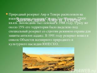 Природный резерват Аир и Тенере расположен на южной границе пустыни Сахара. Его