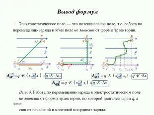 Вывод формул Электростатическое поле — это потенциальное поле, т.е. работа по пе