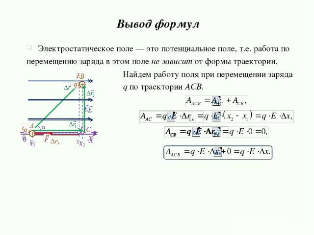 Найдем работу поля при перемещении заряда q по траектории ACB. Вывод формул Электростатическое поле — это потенциальное поле, т.е. работа по перемещению заряда в этом поле не зависит от формы траектории.