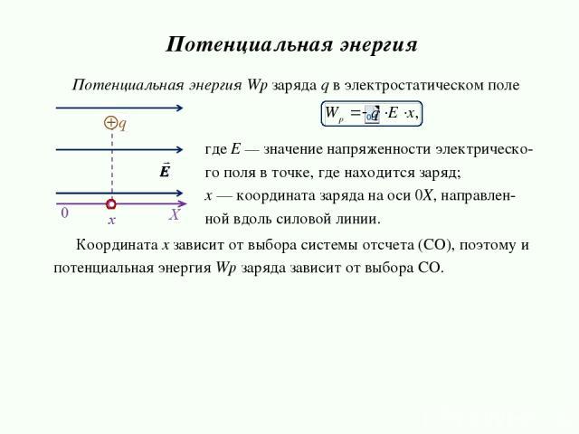 Потенциальная энергия Wp заряда q в электростатическом поле Потенциальная энергия где Е — значение напряженности электрическо- го поля в точке, где находится заряд; х — координата заряда на оси 0Х, направлен- ной вдоль силовой линии. Координата x за…