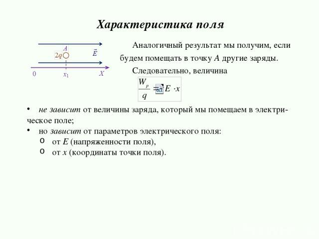 Аналогичный результат мы получим, если будем помещать в точку А другие заряды. Следовательно, величина не зависит от величины заряда, который мы помещаем в электри- ческое поле; но зависит от параметров электрического поля: от E (напряженности поля)…