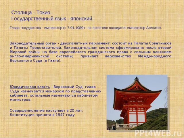 Столица - Токио. Государственный язык - японский. Глава государства - император (с 7.01.1989 г. на престоле находится император Акихито). Законодательный орган - двухпалатный парламент; состоит из Палаты Советников и Палаты Представителей. Законодат…