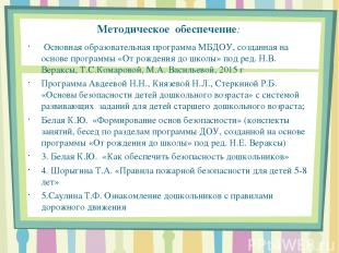Методическое обеспечение: Основная образовательная программа МБДОУ, созданная на