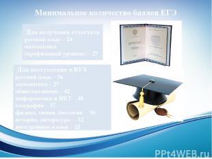 Минимальное количество баллов ЕГЭ Для получения аттестата русский язык – 24 мате