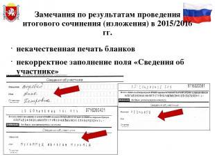 Замечания по результатам проведения итогового сочинения (изложения) в 2015/2016