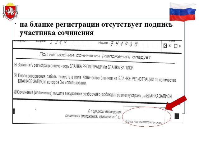 на бланке регистрации отсутствует подпись участника сочинения