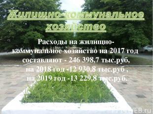 Расходы на жилищно- коммунальное хозяйство на 2017 год составляют - 246 398,7 ты