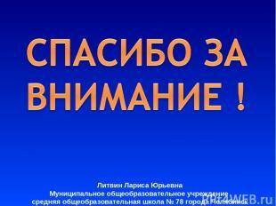 Литвин Лариса Юрьевна Муниципальное общеобразовательное учреждение средняя общео