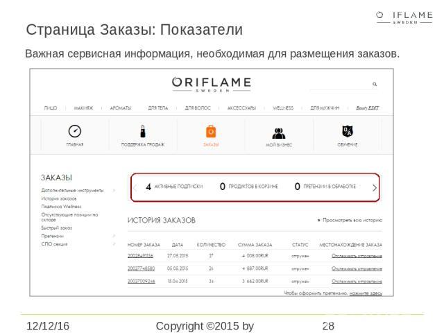 Страница Заказы: Показатели Copyright ©2015 by Oriflame Cosmetics SA Важная сервисная информация, необходимая для размещения заказов.