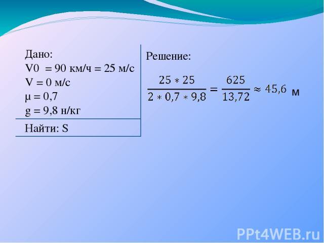 Дано: V0 = 90 км/ч = 25 м/с V = 0 м/с µ = 0,7 g = 9,8 н/кг Найти: S Решение: м