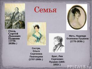 Отец, Сергей Львович Пушкин (1770-1838г.) Мать, Надежда Осиповна Пушкина (1775-1