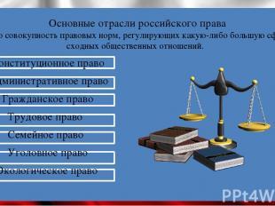 Основные отрасли российского права - это совокупность правовых норм, регулирующи