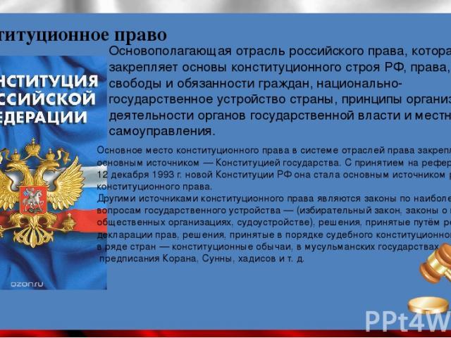 Основополагающая отрасль российского права, которая закрепляет основы конституционного строя РФ, права, свободы и обязанности граждан, национально-государственное устройство страны, принципы организации и деятельности органов государственной власти …