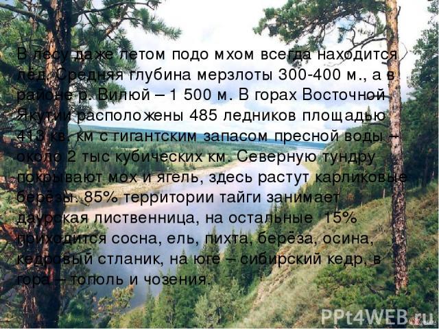 В лесу даже летом подо мхом всегда находится лёд. Средняя глубина мерзлоты 300-400 м., а в районе р. Вилюй – 1 500 м. В горах Восточной Якутии расположены 485 ледников площадью 413 кв. км с гигантским запасом пресной воды – около 2 тыс кубических км…